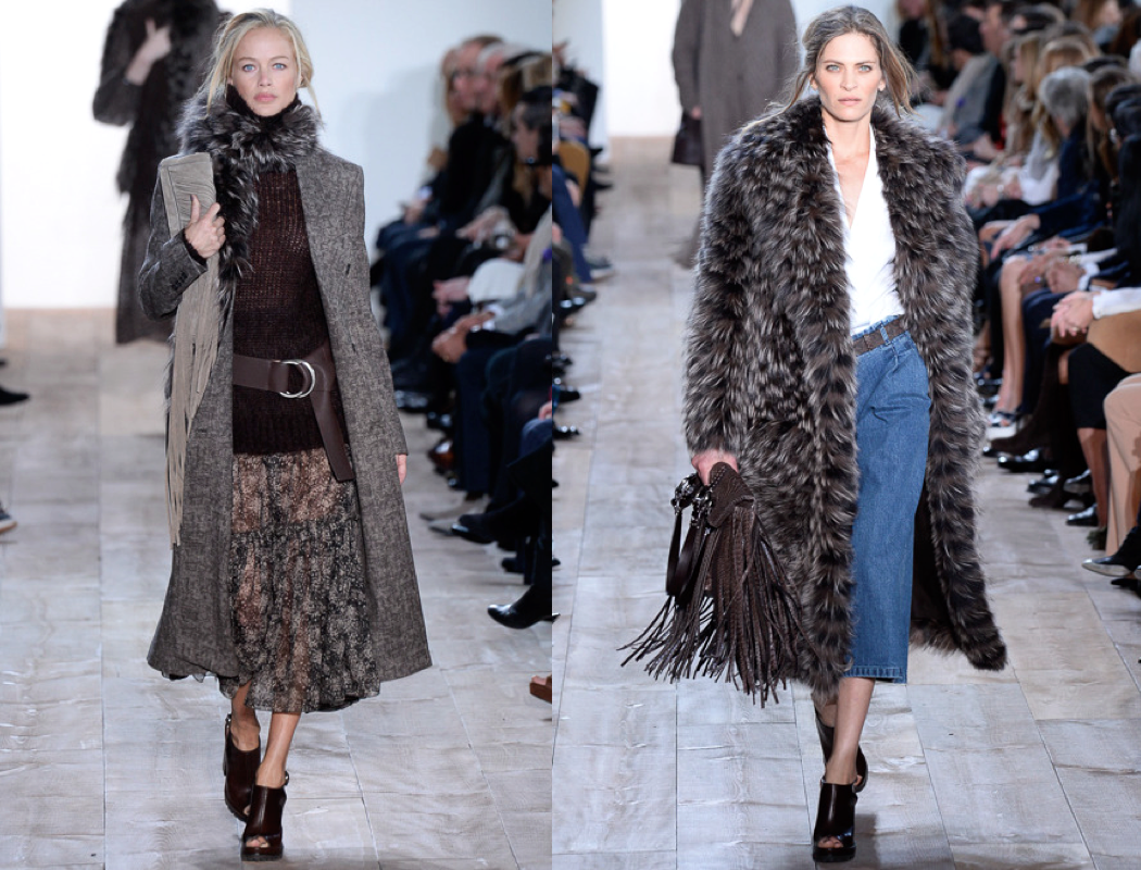 Michael Kors drew inspiration for his fall collection from the relaxed coastal California attitude. Slouchy wool pants, cozy knits and full peasant skirts surfaced on the runway. Kors also brought fantasy to fashion with romantic metallic dresses and suede fringe clutches.