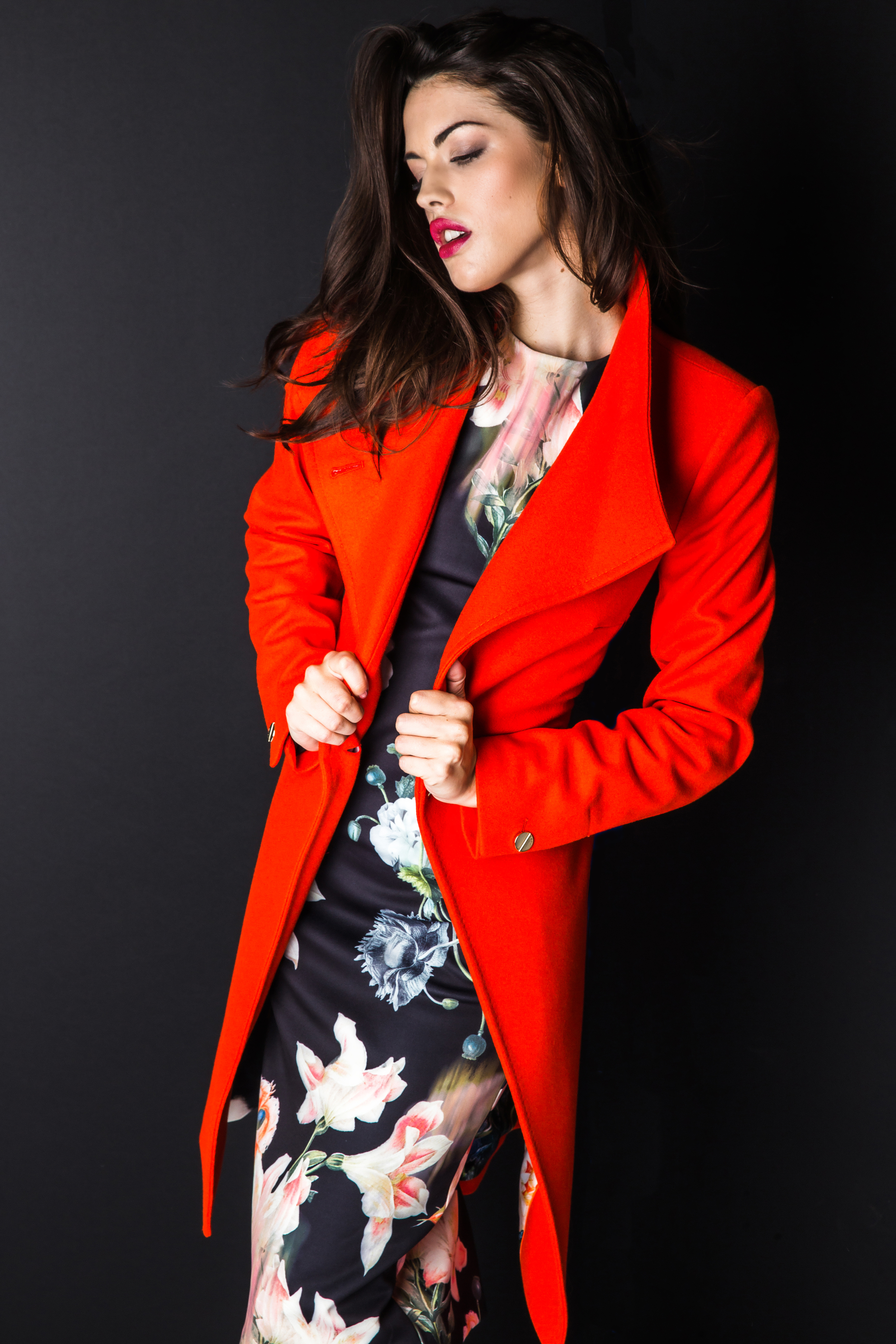 Featuring Ted Baker Nevia Belted Wool-Blend Wrap Coat $585 and Candiss Opulent Bloom Print Dress $330