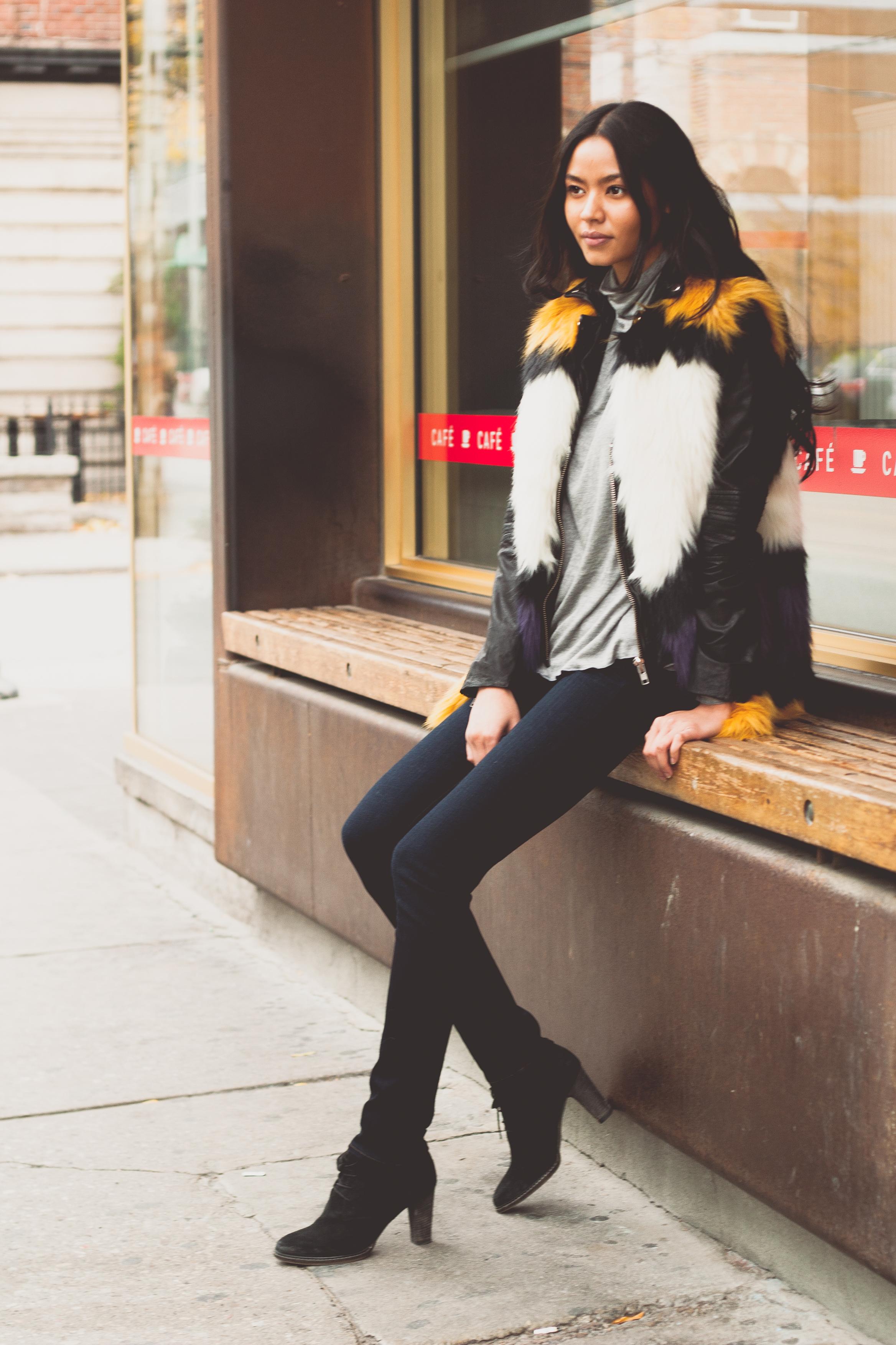 Featuring Muubaa Selengor Leather Biker Jacket $680, Essentiel Faux Fur Vest $368, Paige Denim Skyline Skinny Mona Mid-Rise $259