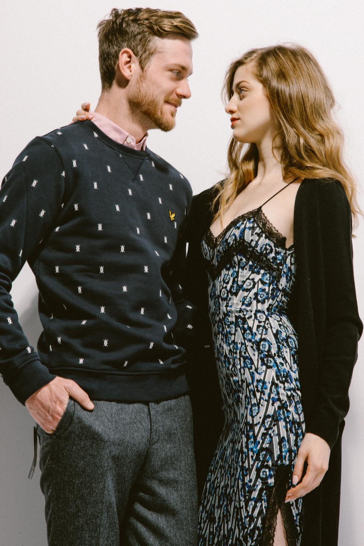 Dress by Sam & Lavi $225 | Cardigan by J. Lindeberg $295