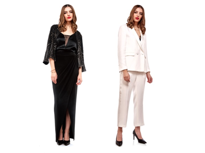 Left:  Beaded Jacket by Velvet $330 | Camisole by Tiger of Sweden $169 | Maxi Skirt by Paria Shirvani $148 $ | Bracelet by Jenny Bird $85 | Necklace by Wolf Circus $86 |  Right:  Tuxedo Jacket by Tiger Of Sweden $599 | Tuxedo Pant by Tiger Of Sweden $329 | Lace Bra by For Love & Lemons $165