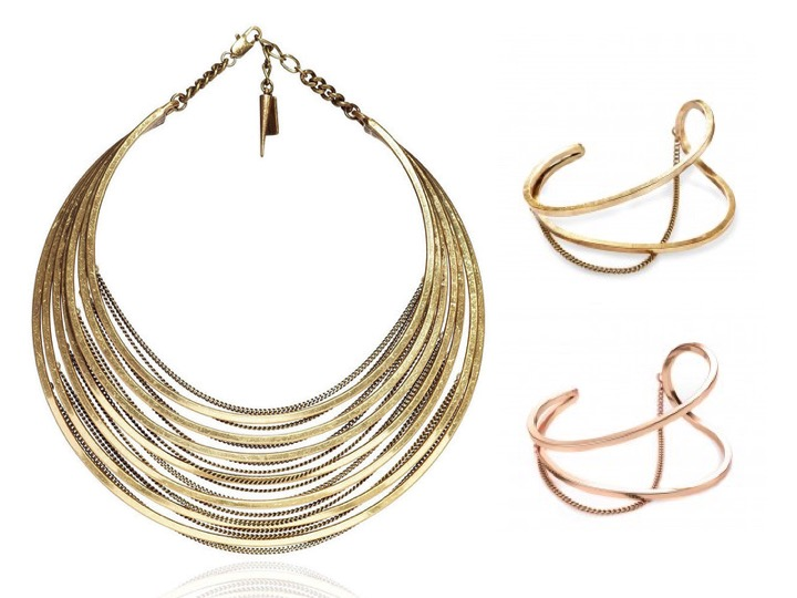 Illa Collar Necklace in Gold $225 | River Cuff Bracelet in Gold & Rose Gold $85