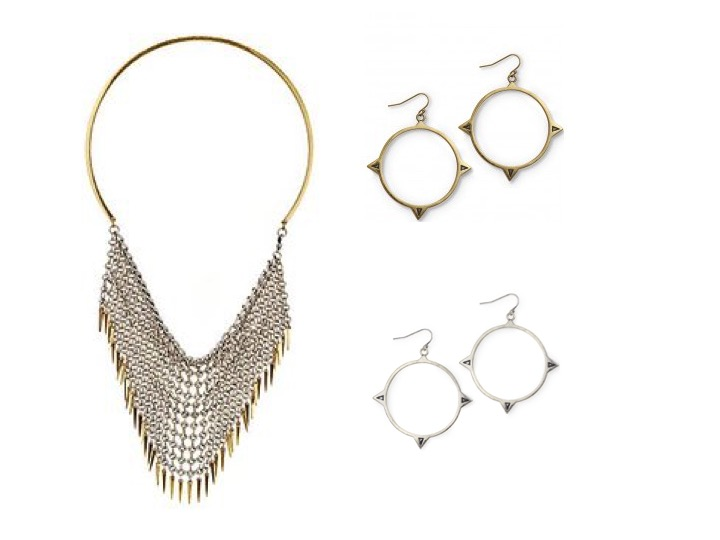 Jagger Bib Necklace $175 | Zye Hoops in Gold & Silver $60