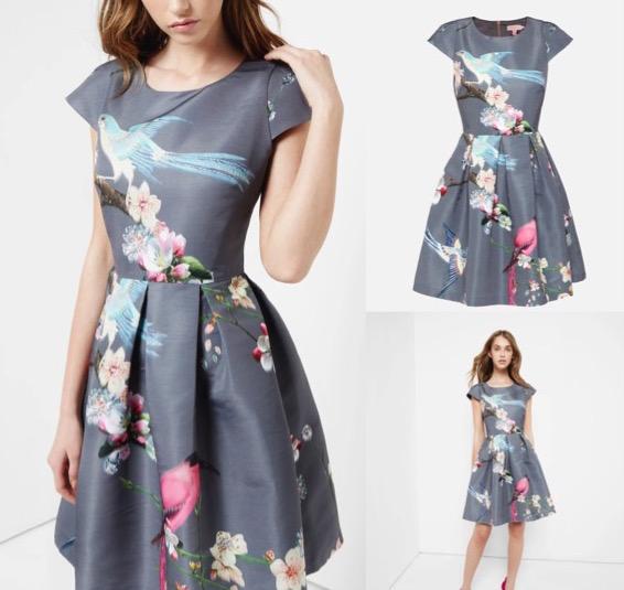 Bird Print Fit & Flare Dress $375