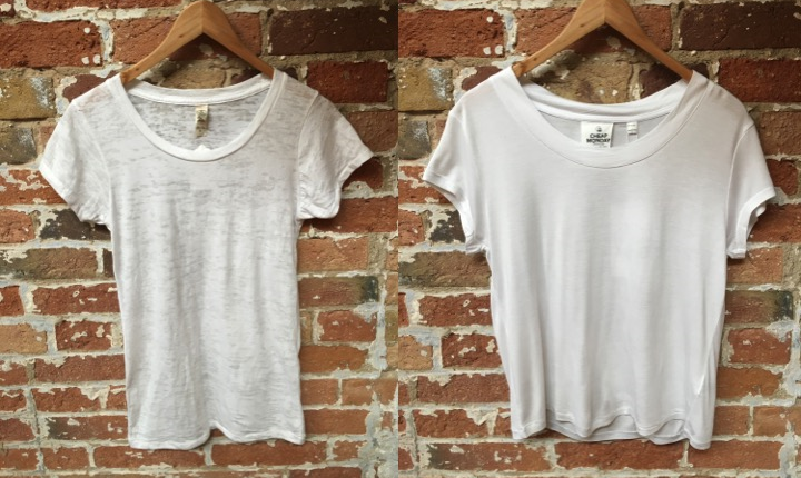 Left-Crewneck cotton burnout tee by Alternative Apparel $44 Right-Crewneck Cropped tee by Cheap Monday $45