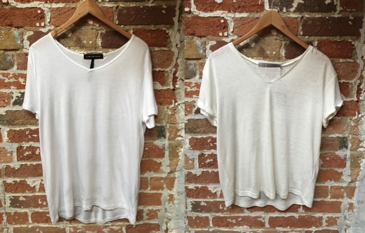 Left-Oversized v-neck tee in viscose fabric by CHRLDR $48 Right-V-neck tee in linen blend fabric by Tiger Of Sweden $79