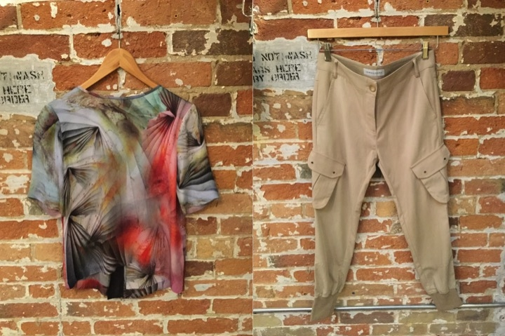 Tiger Printed Silk Tee $229 James Jeans Cargo Pants $298