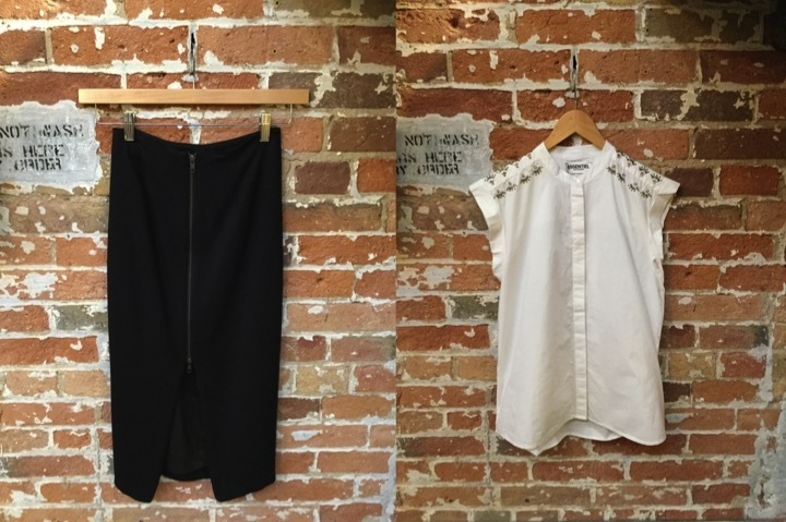 Tiger of Sweden Zip Pencil Skirt $199 Essentiel Sleeveless Beaded Shirt $225