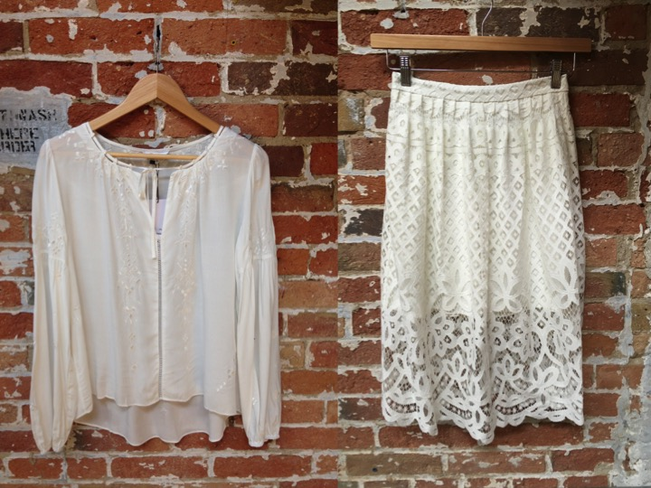 Parker Silk Embroidered Blouse $268 Parker Lace Skirt $268