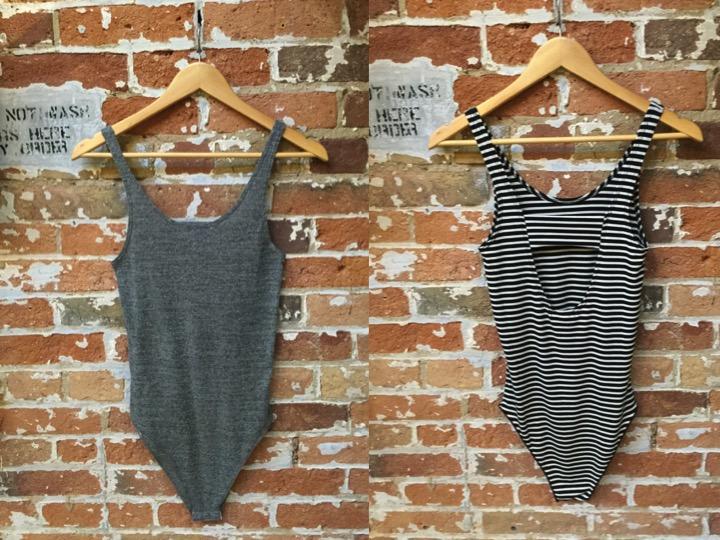 LNA Bodysuit $105 available in stripe & solid.