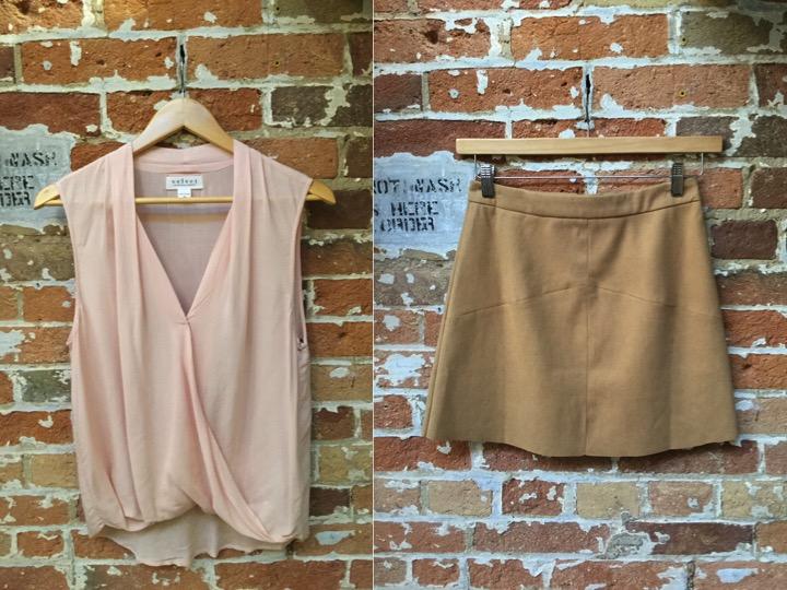 Velvet Blouse $148 Suncoo Suede Mini Skirt $165