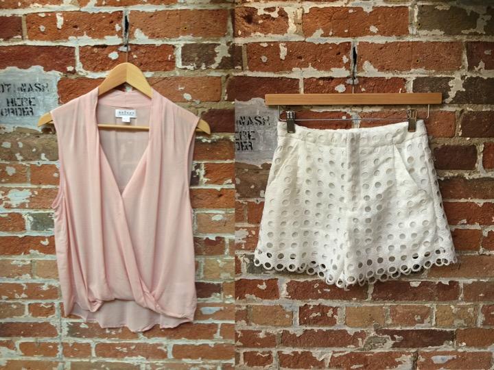 Velvet sleeveless blouse $148 Suncoo lace shorts $165