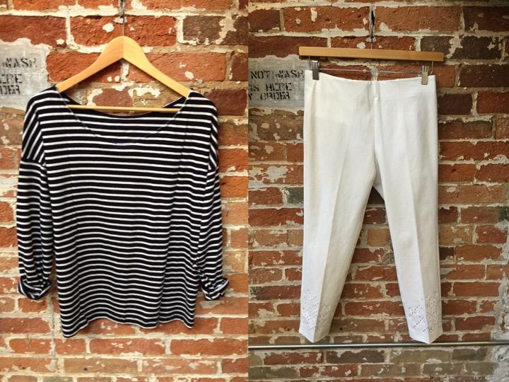 American Vintage stripe tee $98 Ecru pants $229