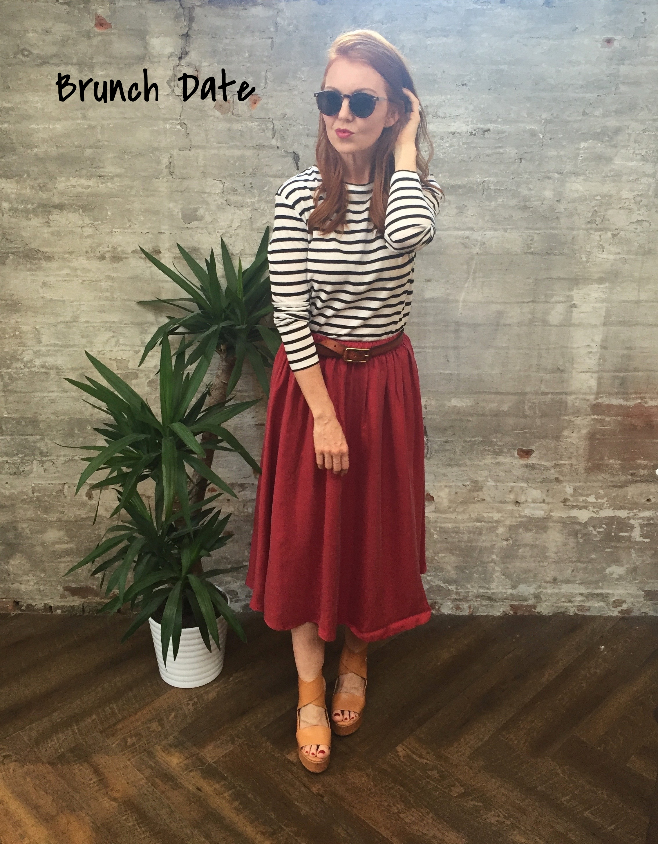 Summer brunch in Toronto features the city's top chefs at the most sough after restaurants putting a gourmet spin on bacon and eggs. Your hangover sweats will not cut it if you hope to score a table on one of hottest patios. Dress to impress while keeping a low key persona with casual separates. Classic stripes are elevated with a flowing skirt that features an elastic waistband to accommodate generous helping of french toast and many fresh mimosas.  Tiger of Sweden Stripe Top $99 American Vintage Skirt $188 Tiger of Sweden Sandals $299 Tiger Of Sweden Leather Belt $99 Le Specs Sunglasses $88  Tip: One of our favourite brunch spots is School, a must have is the Chicken & waffles! What's your favourite brunch spot?