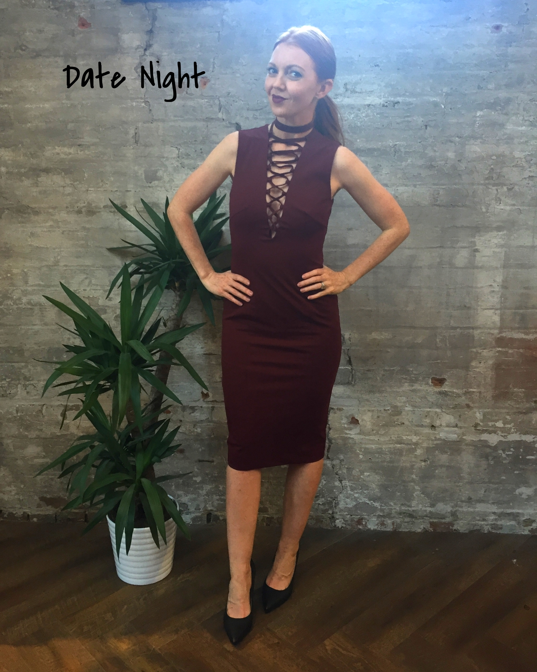 Warm weather, a hot date and an even hotter outfit; the perfect ingredients for a night out on the town. Swap out your basic little black dress for a bodycon burgundy number with a daring neckline that can literally stop traffic when you cross the street.Throw on a bold lip, a simple heel and a healthy dose of confidence.  Keepsake Lace Up Dress $240 Tiger of Sweden Leather Heels $249