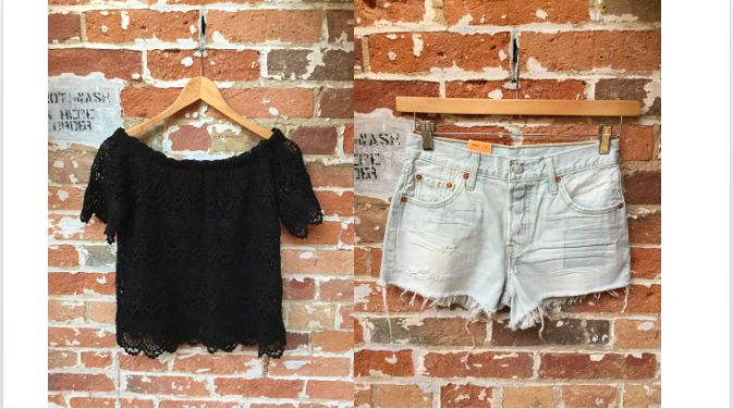 Velvet Off The Shoulder Top $188 Levis' Shorts $79