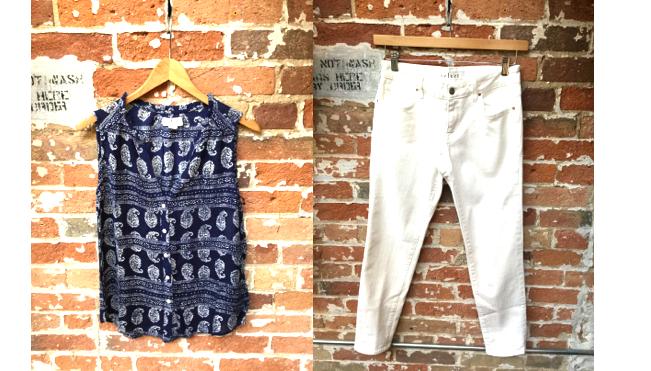 Velvet Bandana Sleeveless Blouse $138 Velvet White Jeans $228