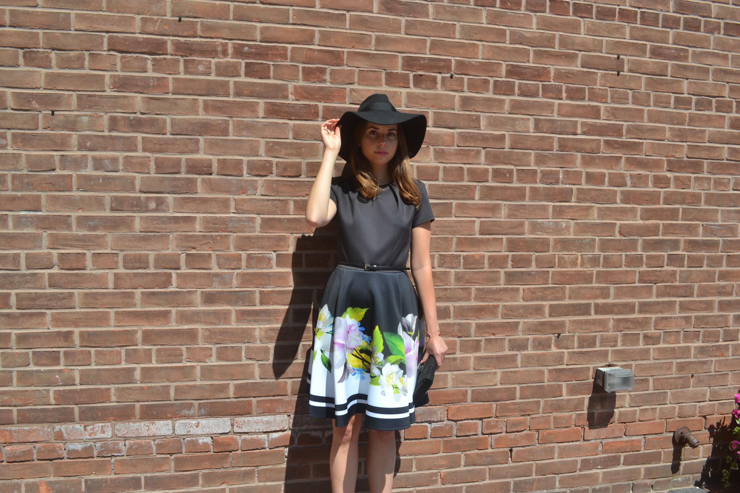 Ted Baker Floral Skater Dress $315, Brixton Hat $88