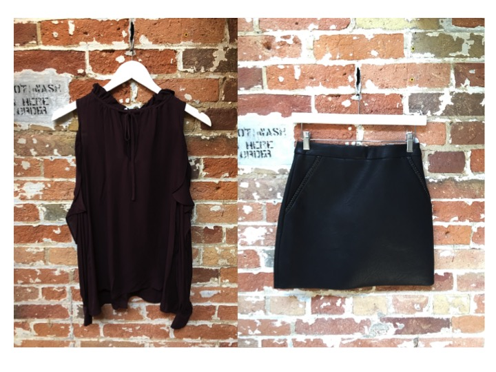 Parker Cold Shoulder Blouse $368 Suncoo Leather Skirt $180