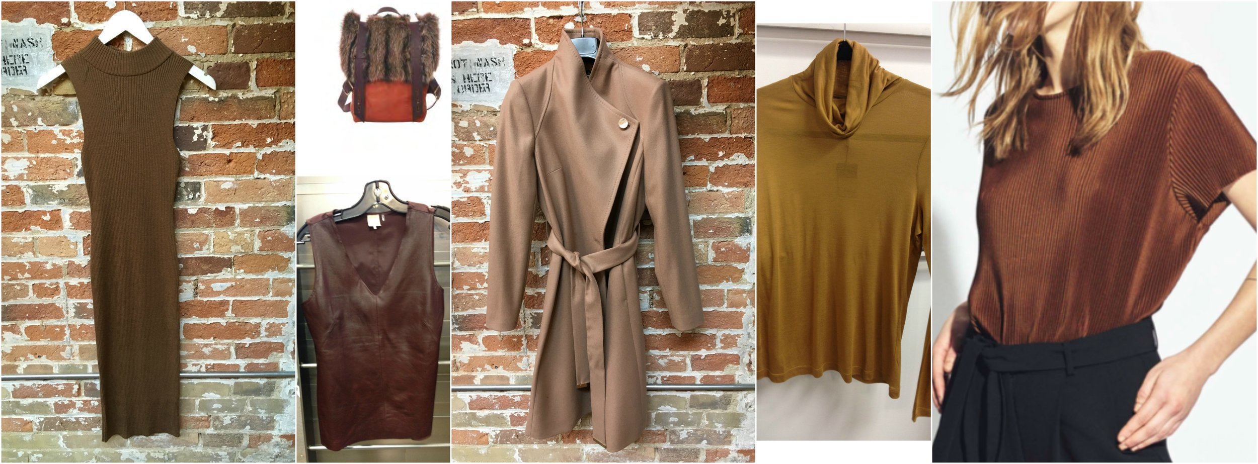 John & Jenn knit dress, Lowell leather & fur backpack, Ecru leather tank, Ted Baker wool coat, Fine Collection Turtleneck (coming soon), Just Female metallic Tee.