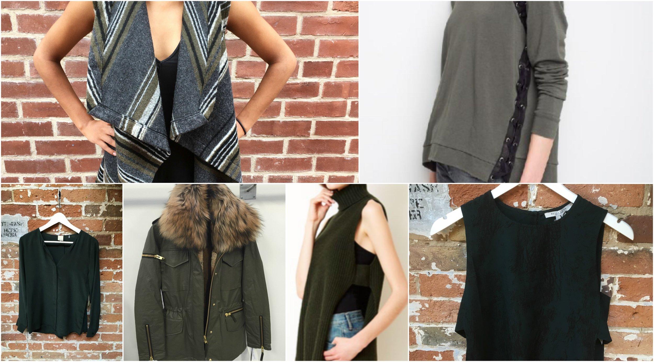 Ecru silk blouse, Cupcakes & Cashmere open vest, S.A.M anorak jacket (coming soon), Autumn Cashmere sleeveless turtleneck, Generation Love lace up sweatshirt, Bella Luxx tank top