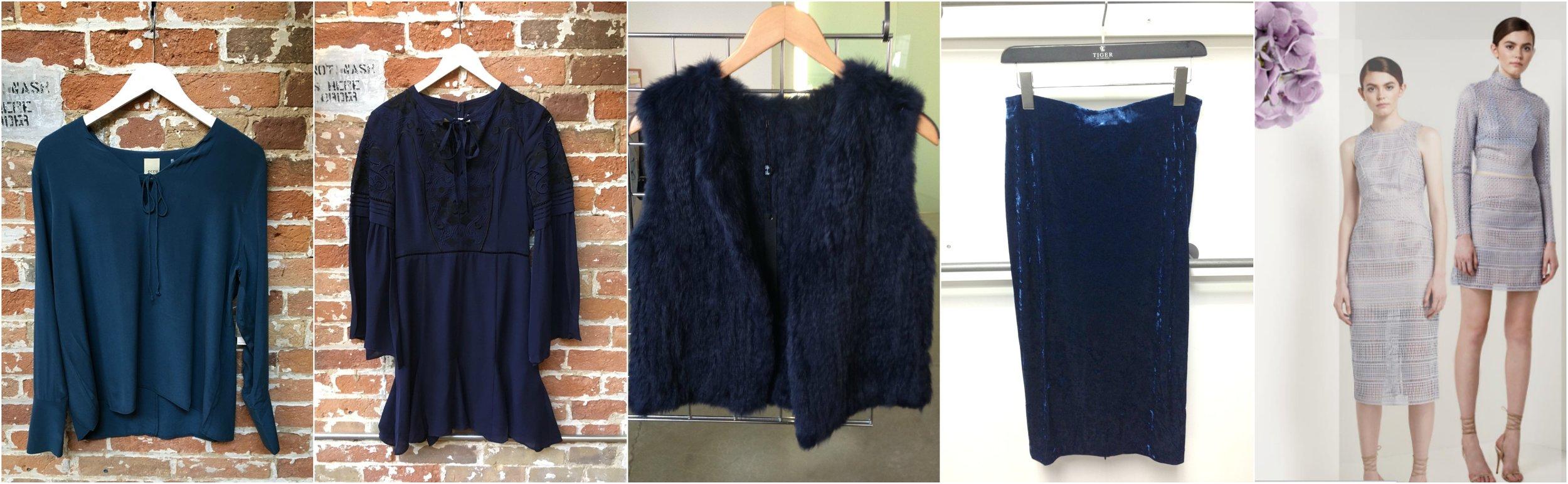 Ecru lace up silk blouse, Parker silk romper, Lyle & Luxe fur vest, Tiger of Sweden velvet skirt (coming soon), Keepsake lace set (coming soon)