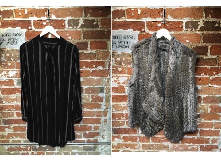 Rails Stripe Tunic Dress $215 Lyle & Luxx Fur Vest $245