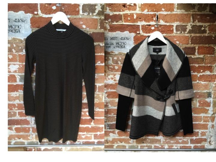 Bella Luxx Long Sleeve Striped Dress $215 Line Wool Coat $349