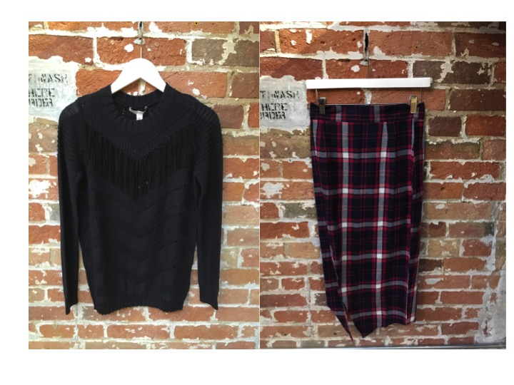 Autumn Cashmere Fringe Sweater $295 Nana Judy Plaid Skirt With Slit $95