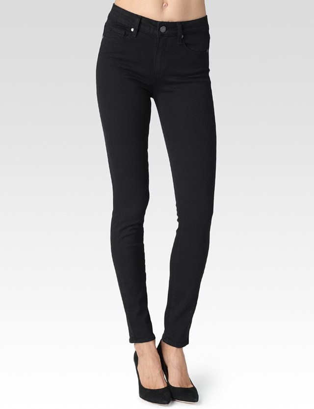 """Hoxton High rise ultra skinny: High rise waist with a front rise of 10"""" and a leg opening of 10 1/4"""" Comes in a black wash or a dark navy blue. This is a staff favourite, you will leave in these jeans as they hold everything in nicely and can be dressed up or down. I repeat, a must have."""