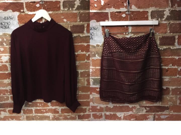 Keepsake Burgundy Blouse $185 Keepsake Lace Skirt $240