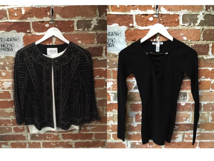 Velvet Embellished Jacket $320 Autumn Cashmere Lace Up Sweater $310