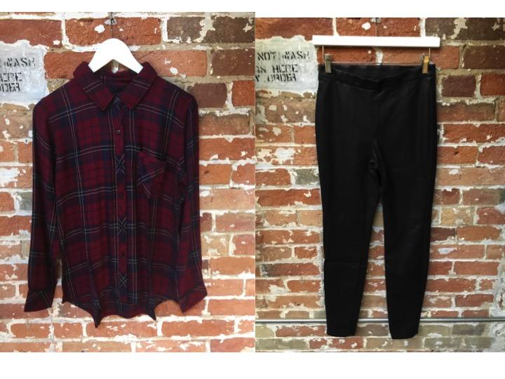 Rails Flannel Shirt $215 Cupcakes & Cashmere Vegan Leather Pants $138