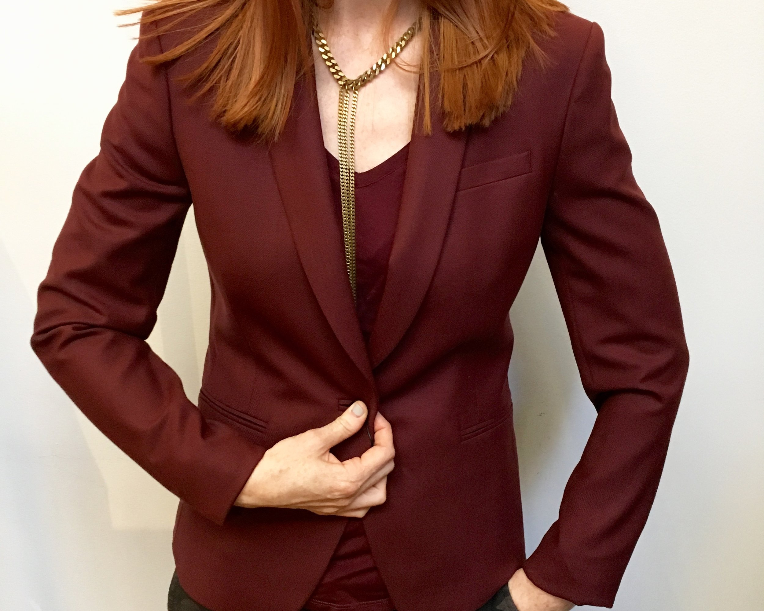 Tiger of Sweden Burgundy Blazer WAS $479  NOW $335 Paige V-neck Tee WAS $125  NOW $87