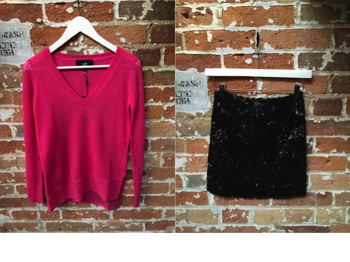 Line Cashmere Vneck Sweater $275 Dry Lake Sequin Mini Skirt $129