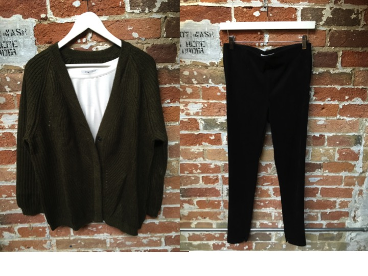 FINE Collection Wool/Cashmere Cardigan $328 Velvet Suede Leggings $195