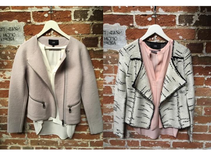Tiger of Sweden Silk Tee (White or Pink) $169 LINE Rebecca Moto Jacket in Pink $349 LINE Knit Jacket $275
