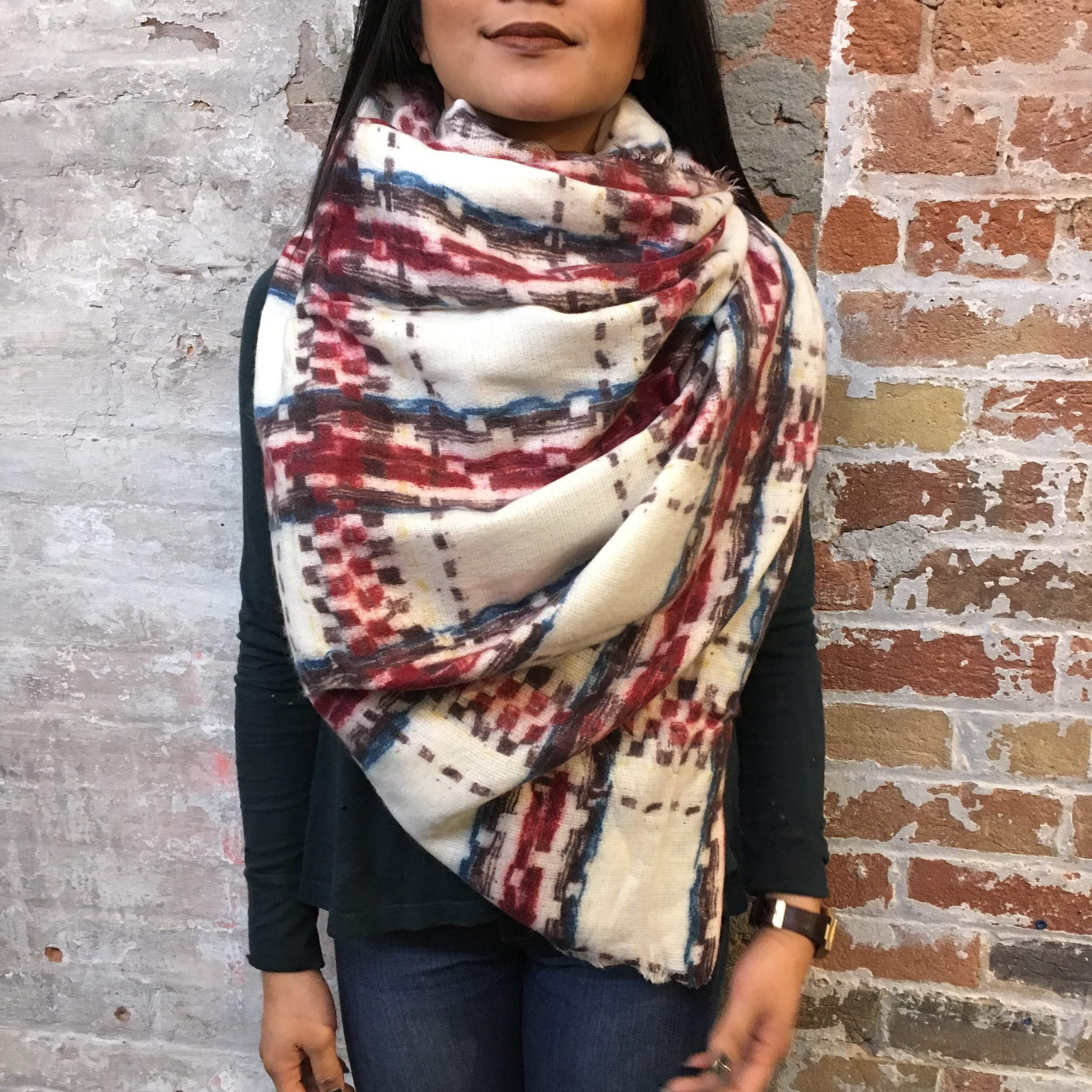 Square scarf: Fold the scarf in half to make a triangle.  Gather two ends of the triangle over and around your neck, meeting the point hanging down the front of your body. Tuck the two ends under and tie. Fluff and don't be afraid to go big.