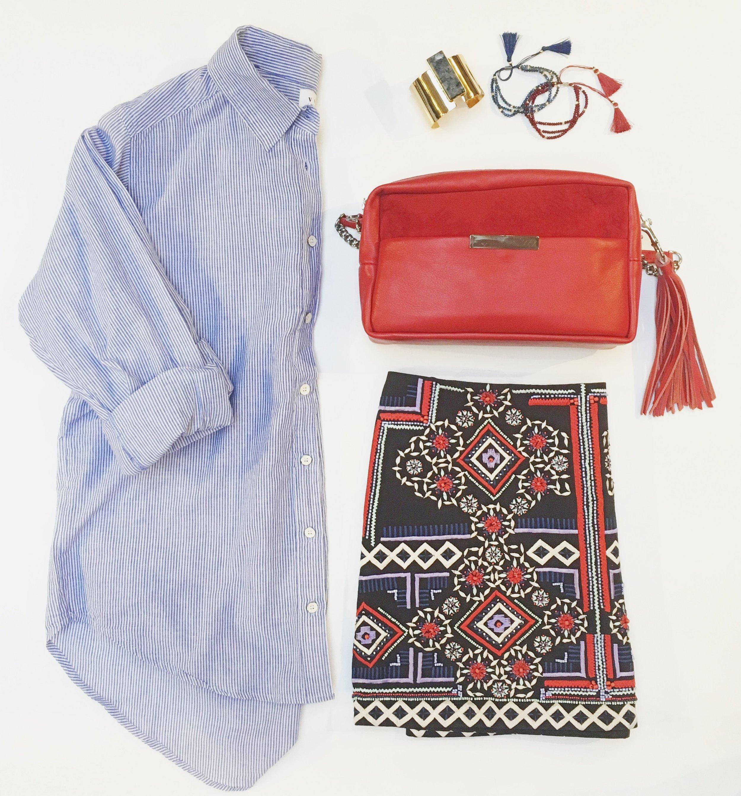 Velvet Button Down $175 Bracelets: Jenny Bird $145 & Biwa $32 Parker Embellished Skirt $498 Opelle Purse $300