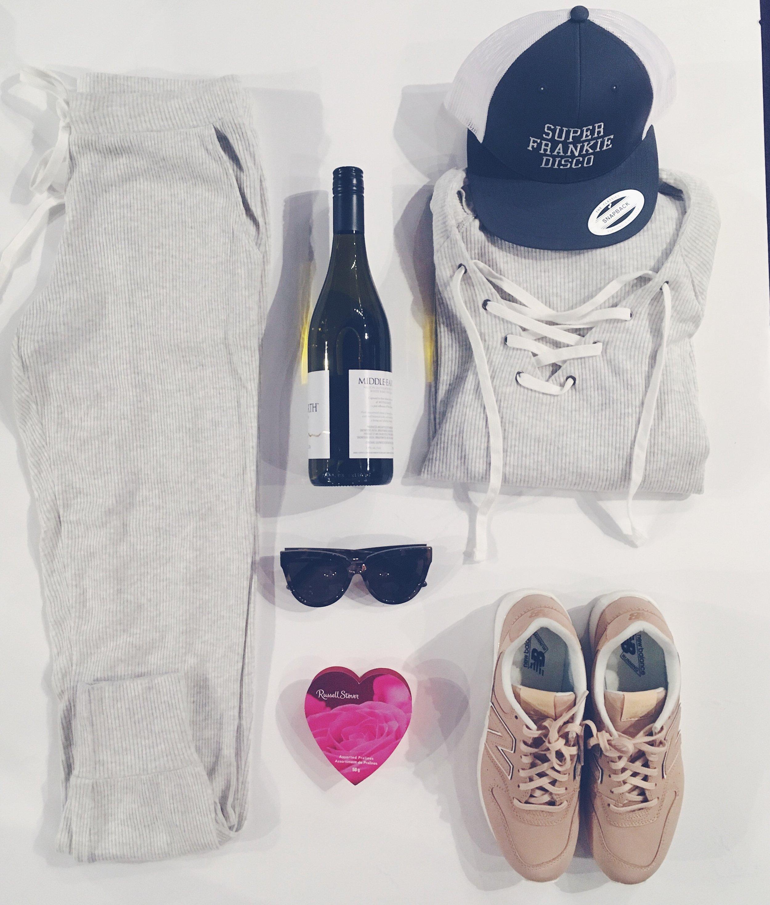 Velvet Sweater $198 Velvet Pants $183 Le Specs Sunglasses $110 Chocolate & Wine at your discretion New Balance Runners $135 Super Frankie Disco Hat $35