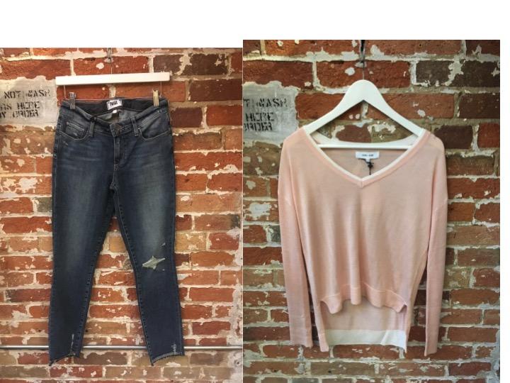 Paige Distressed Jeans $345 John & Jenn Double Layer Sweater $135