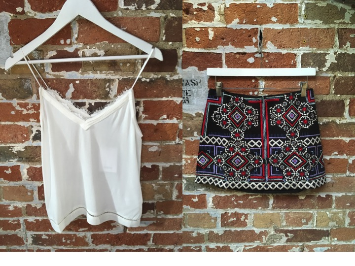 Suncoo White Lace Tank $125 Parker Embroidered Mini Skirt $498