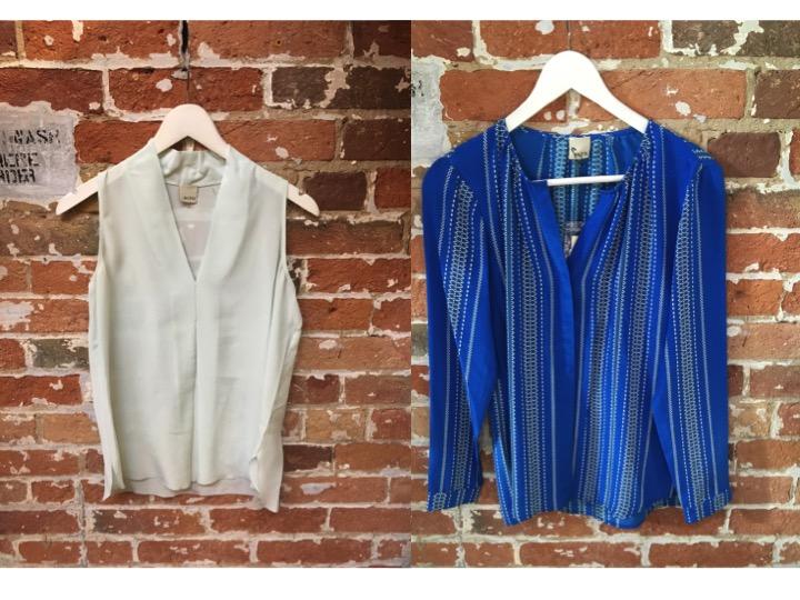 Ecru Silk Sleeveless Blouse $225 Ecru Printed Blouse $198