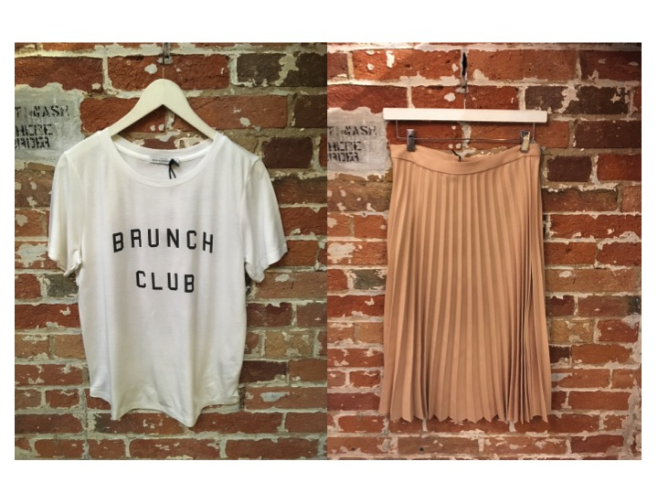 South Parade Brunch Club Tee $99 Suncoo Pleated Midi Skirt $165