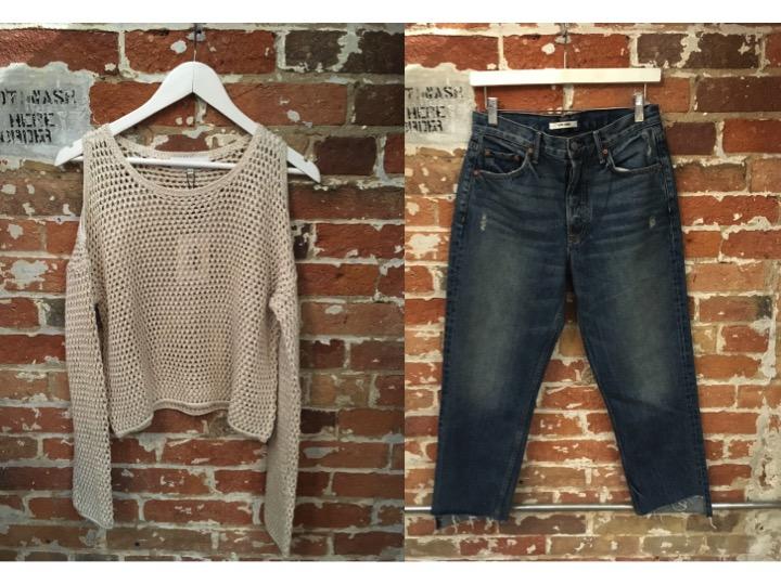 John & Jenn Cold Shoulder Sweater $125 GRLFRND Helena Cropped Jean $298