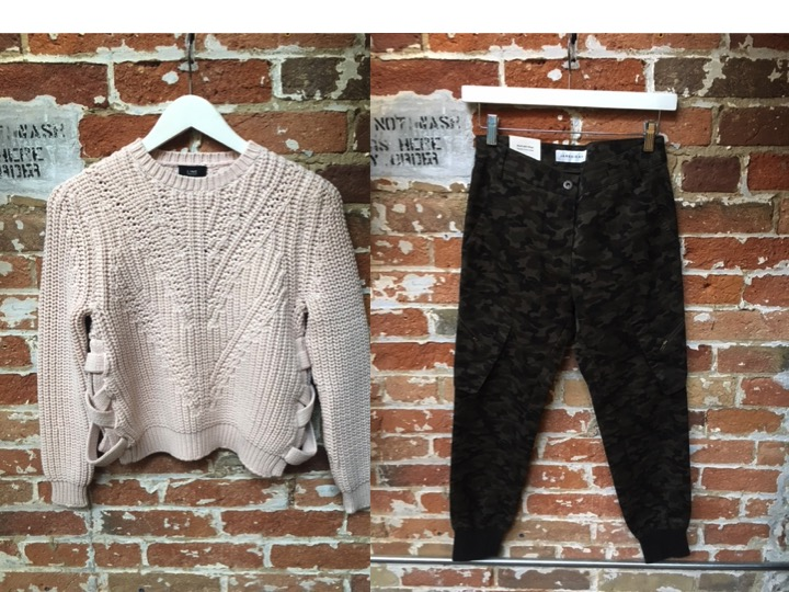 LINE Lace Up Sweater $250 James Jeans Camo Cargo Pant (Updated print) $295
