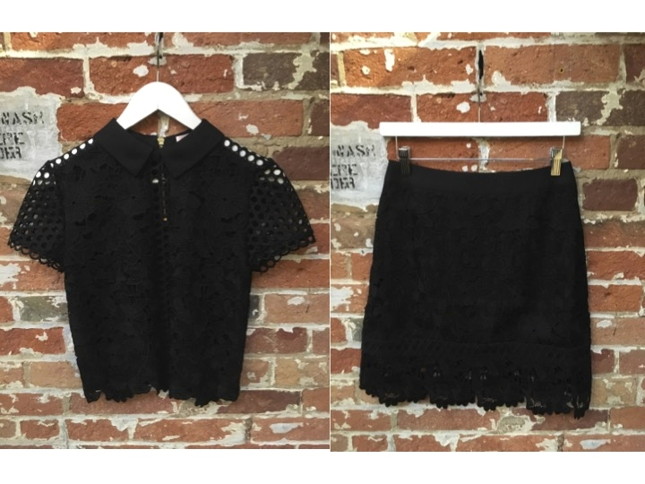 Ted Baker Lace Cropped Blouse $285 Ted Baker Lace Skirt $225  **We love this set**