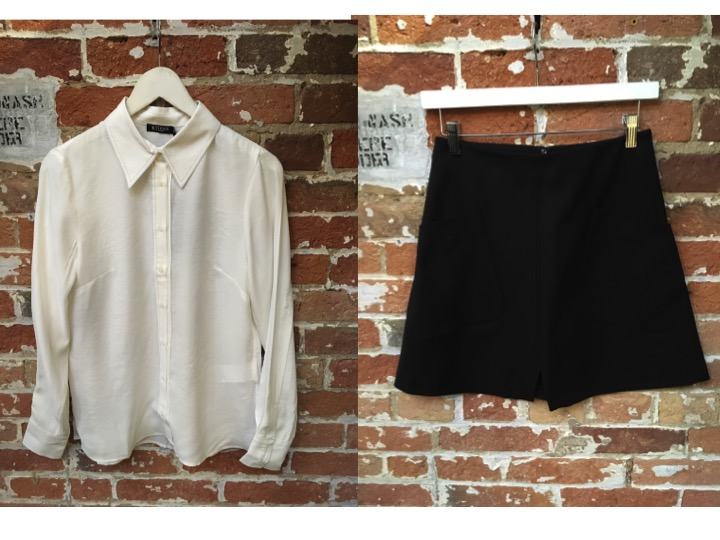Tiger Of Sweden Embellished Collared Shirt $229 *** silver thread around edges make for a stylish updated white collared blouse** Tiger Of Sweden Mini Skirt $199