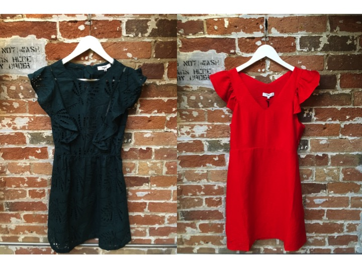 Suncoo Eyelet Dress $235 Suncoo Ruffle Dress $199 ** both have a cut out back, super sexy, the perfect dress for your next event**