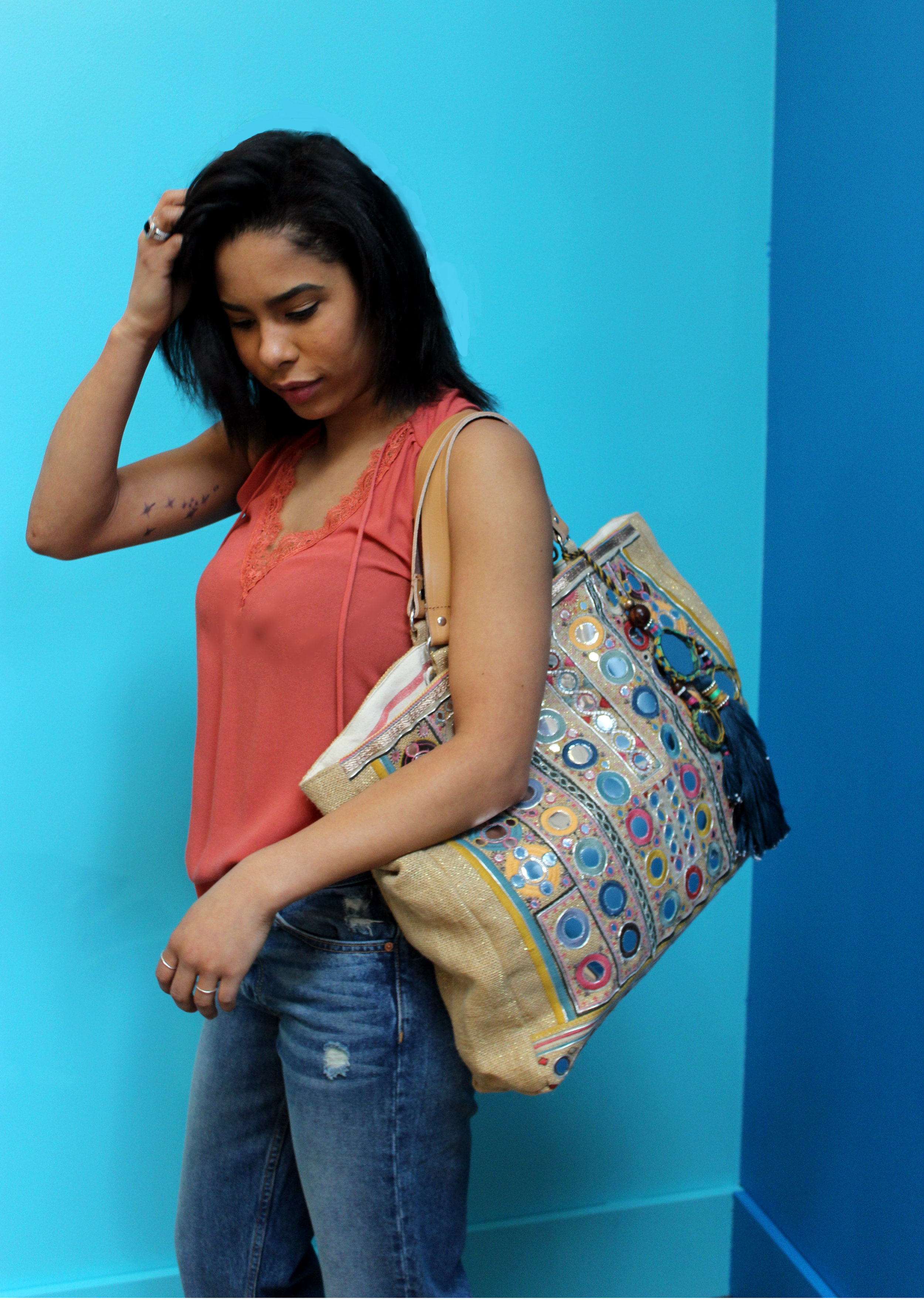 GRLFRND Helena Denim $298 Heartloom Lace Tank $98 Star Mela Summer Tote $240